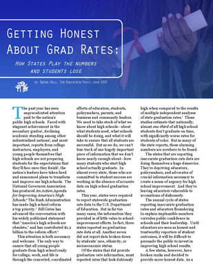 "Getting Honest About Grad Rates report featuring commentary on the ""Left Behind"" series"