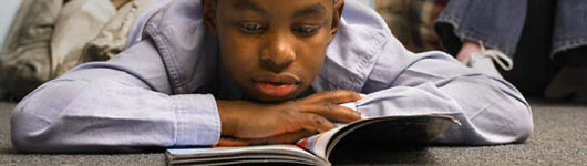 Black son reading